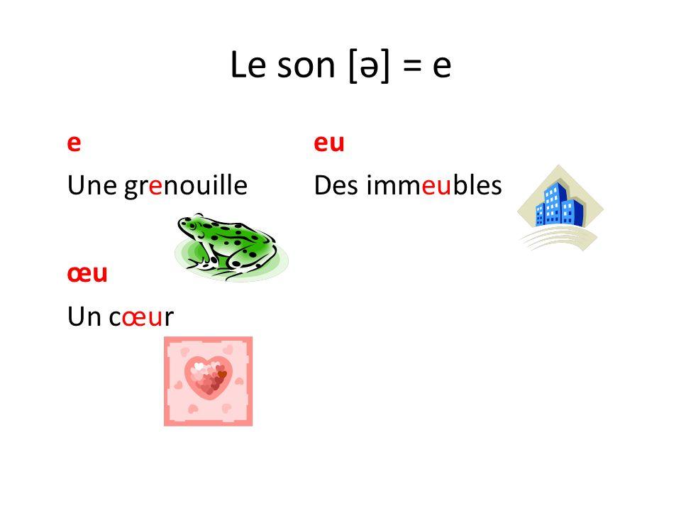 Le son [ǝ] = e e eu Une grenouille Des immeubles œu Un cœur